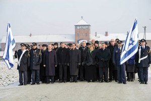 Members of the Knesset at Auschwitz, 27 January 2014. [Source: jewishpress.com]