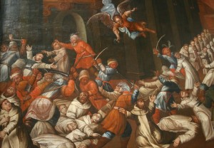Painting from Sandomierz Cathedral depicting 13th century Tatar attack on Sandomierz.