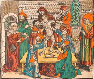 """Woodcut from the Nuremberg Chronicle (1493) depicting the """"ritual murder"""" of Simon of Trent."""